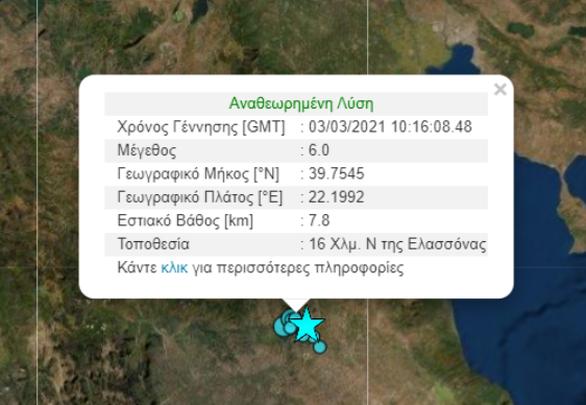 Σεισμική δόνηση ταρακούνησε την Πάτρα - Στην Ελασσόνα Λάρισας εντοπίζεται το επίκεντρο των 6 Ρίχτερ