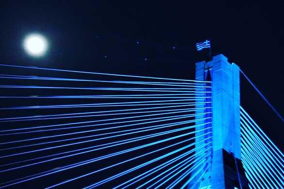 «Ώρα της Γης»: Όταν η γέφυρα Ρίου-Αντιρρίου «παραδόθηκε» στο φως του φεγγαριού (φωτο+video)