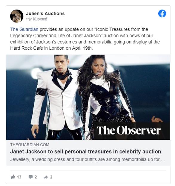Στο «σφυρί» οι προσωπικοί θησαυροί της Τζάνετ Τζάκσον