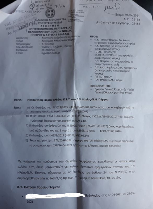 Αχαΐα: Έντονες αντιδράσεις των νοσοκομειακών γιατρών για τις μετακινήσεις στον Πύργο