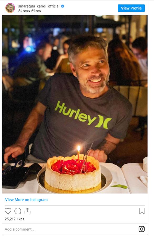 Η Σμαράγδα Καρύδη ανέβασε μια φωτογραφία του Θοδωρή Αθερίδη με την γενέθλια τούρτα του