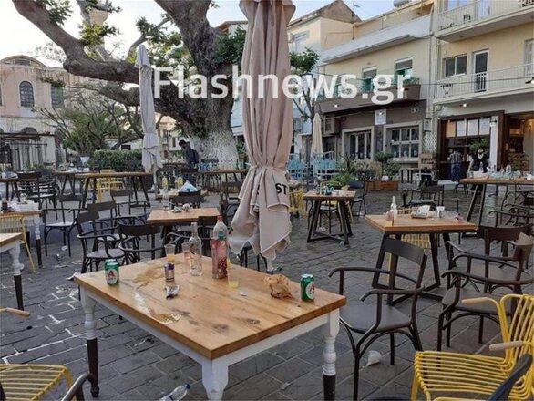 Lockdown - Κρήτη: «Βομβαρδισμένο» τοπίο κεντρική πλατεία στα Χανιά από τα κορωνοπάρτι (φωτο)