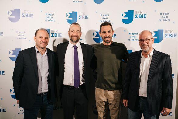 (Από αριστερά προς τα δεξιά) Χρήστος Μήλας (ΚΑΕ Προμηθέας), Νίκος Καστρινάκης, Γιάννης Αποστολάκης, Παναγιώτης Παπαδόπουλος (Πρόεδρος Περιφερειακού συμβουλίου)