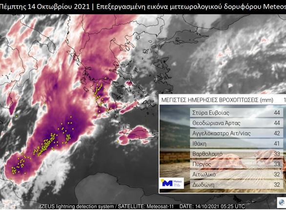 """Ο """"Μπάλλος"""" έφερε μεγάλα ποσοστά βροχής στη Δυτική Ελλάδα"""