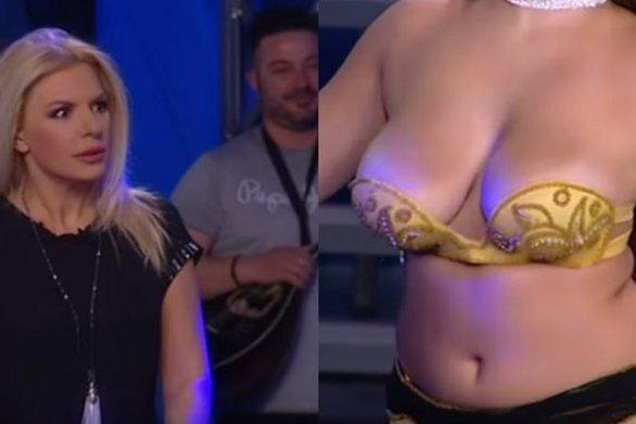 Η χορεύτρια με το μικροσκοπικό μπουστάκι που προκάλεσε... πανικό στην Αννίτα Πάνια (video)