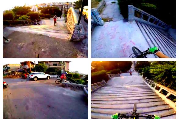 Βίντεο που κόβει την ανάσα - Κατηφορίζοντας τα σκαλιά της Αγ. Νικολάου με ποδήλατα!