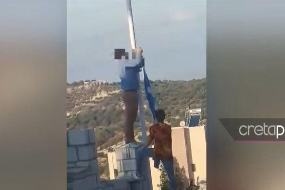 Κρήτη: Αλβανοί κατέβασαν και έκλεψαν την Ελληνική σημαία (video)