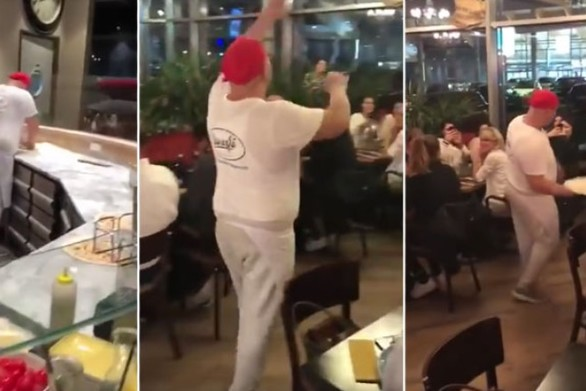 Ο ζογκλέρ της πίτσας (video)