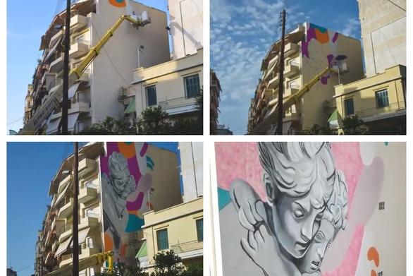 """Πάτρα - Το mural """"Fingers Locked"""" από την """"σύλληψη"""" μέχρι τη """"γέννηση"""" του (video)"""