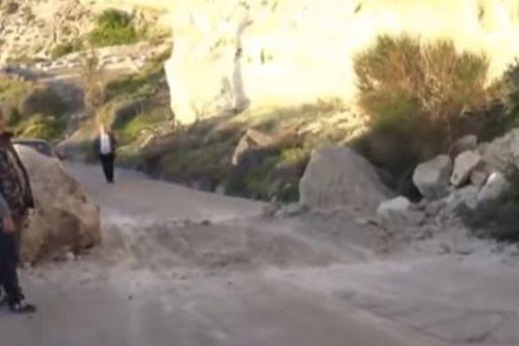 Κατολίσθηση βράχων σημειώθηκε στη Σαντορίνη (video)