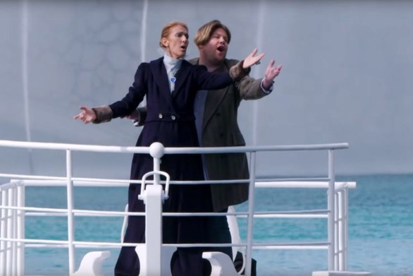 Η Celine Dion και ο James Corden αναβίωσαν τον Τιτανικό σε συντριβάνι (video)