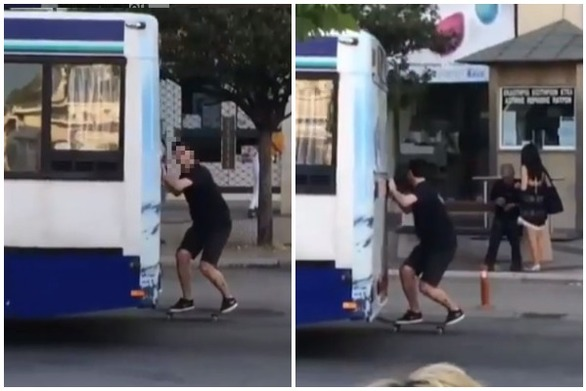 """Το είδαμε στην Πάτρα - Skater """"αρπάζει"""" αστικό λεωφορείο εν κινήσει!"""