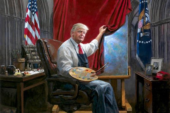 Ο Ντόναλντ Τραμπ ζωγραφίζει το... μέλλον της Αμερικής (video)
