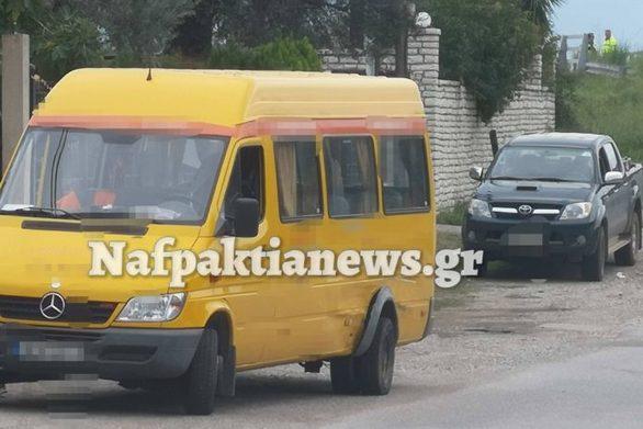 Ναύπακτος - Σύγκρουση σχολικού λεωφορείου με αγροτικό όχημα (φωτο)