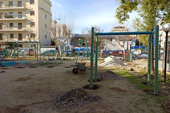 Πάτρα - Νέα παιδική χαρά κατασκευάζεται στην πλατεία Μαρούδα (φωτο)