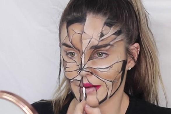 Ένα απίστευτο μακιγιάζ-οφθαλμαπάτη που μοιάζει με ραγισμένο πρόσωπο (video)