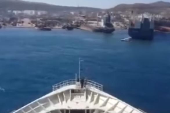 Κρουαζιερόπλοιο βγαίνει στη στεριά και πάει για διάλυση (video)