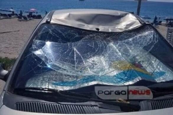 Πάργα - Αθλητής «παρά πέντε» προσγειώθηκε σε παρμπρίζ αυτοκινήτου (video)