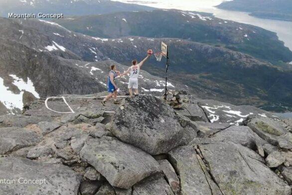 Μπάσκετ: Tο φοβερό «μονό» δύο Νορβηγών στην κορυφή του βουνού (video)