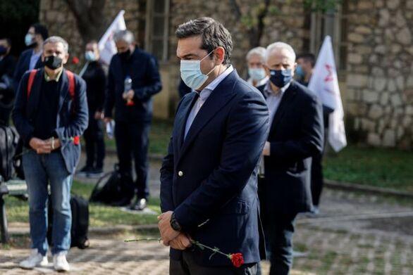 Ο Αλέξης Τσίπρας με αντιπροσωπεία του ΣΥΡΙΖΑ στο ΕΑΤ-ΕΣΑ