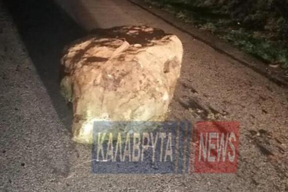 Αχαΐα: Μεγάλος βράχος έπεσε μέσα στο Σοποτό Kαλαβρύτων