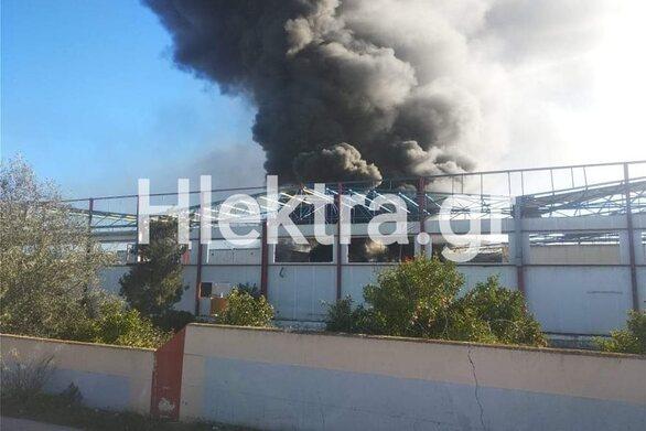 Φωτιά σε συσκευαστήριο στο Ζευγολατιό Κορινθίας (video)